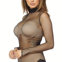 Lace Fishnet Bodysuit in Black