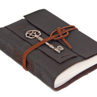 Dark Brown Leather Journal with Key Bookmark - Ready to ship