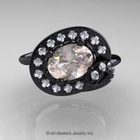 Art Nouveau 14K Black Gold 1.0 Ct Oval Morganite Diamond Nature Inspired Engagement Ring R296A-14KBGDMO