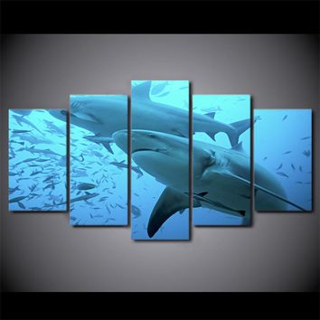 5 Panel Pieces Canvas Canvas Art Deep Blue Ocean Painting Big Shark Wall Picture
