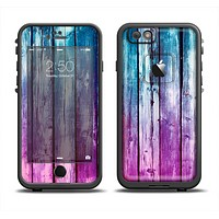 The Pink & Blue Dyed Wood Apple iPhone 6 LifeProof Fre Case Skin Set