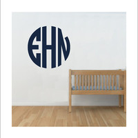 Circle Monogram Large Vinyl Wall Decal Preppy Monogram Boy Girl Nursery Bedroom Personalized Initials Housewares Home Decor Vinyl Decal