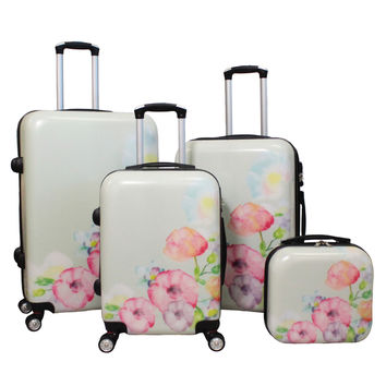 World Traveler Flower Bloom 4-piece Lightweight Hardside Spinner Luggage Set | Overstock.com Shopping - The Best Deals on Four-piece Sets