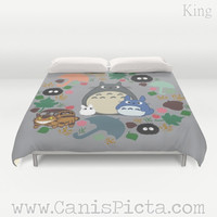 Duvet Cover Totoro Kawaii My Neighbor QUEEN KING size Decor Decorative Soot Catbus Grey Blue White Manga Hayao Miyazaki Studio Ghibli Spring