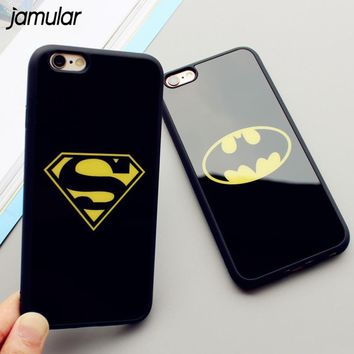 JAMULAR Mirror Superman Batman Case For iPhone 7 Plus 6 6s 8 Plus Cases Back Cover For iPhone X 6S 5 5S SE Covers Fundas Coque