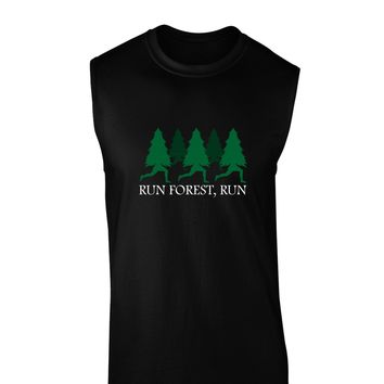 Run Forest Run Funny Dark Muscle Shirt  by TooLoud