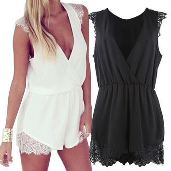 Deep V-neck Lace Jumpsuit