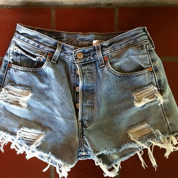 Custom High Waisted Levi Denim Shorts by LindsayLouVintage on Etsy