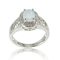 Synthetic Oval Pink Opal Sterling Silver Filigree Shank Women's Halo Wedding Ring SPJ