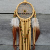 3 Inch Golden Brown Dream Catcher--Green and Gold