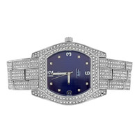 Mens Blue Dial Watch Iced Out Hip Hop Bling Joe Rodeo