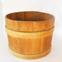 Primitive Wood Bucket, Antique Wooden Bucket, Firkin Bucket, Sap Bucket, Rustic Farmhouse Décor, Collectible Farm Décor