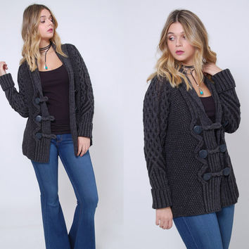 Vintage IRISH Wool Sweater Charcoal Grey CABLE KNIT Cardigan Winter Sweater Merino Wool Cardi