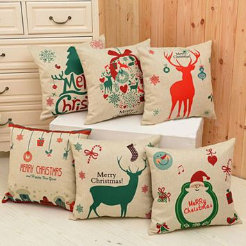 Green Deer Christmas Xmas Pillow Case Linen Pillow Cover Xmas DIY Home Christmas Pillowcases