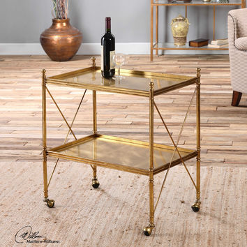 Uttermost Amaranto Gold Serving Cart | Serving Tray