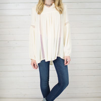 Sheer Accent Peasant Blouse
