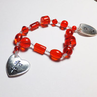 Bright Red Glass and Pewter Heart Chinese Peace and Happiness Beadwork Stretch Bracelet