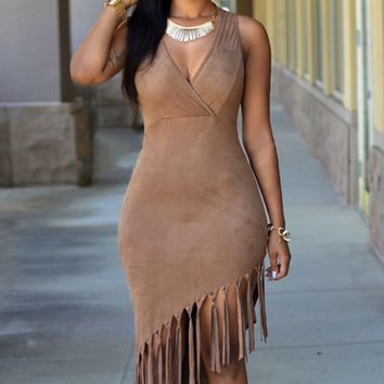 Tassel Suede Nightclub Bodycon Dress 10302