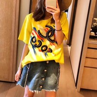 """Chanel""  Women Casual Fashion Multicolor Graffiti Print Letter Hot Fix Rhinestone Short Sleeve T-shirt Top Tee"