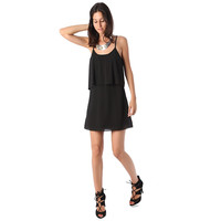 Black strappy layered mini dress