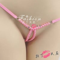 Deep V pearl sexy T panties the temptation to fashion Friction genitals women open crotch thongs sexy g string beads panties