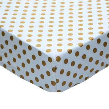 Fitted Crib Sheet | Metallic Gold Polka Dots