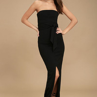 Own the Night Black Strapless Maxi Dress