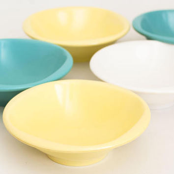 "Vintage Boontonware ""Belle"" Cereal Salad Bowls, Yellow Turquoise and White Melmac Melamine Dishes, Made in USA (SET of 5)"