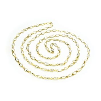 """Vermeil Cz By the Yard Station Necklace, 36"""""""