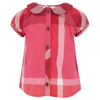 Burberry Girls Pink Nova Check Frill Detail Blouse | AlexandAlexa