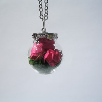 PINK ROSE Glass Necklace dried floral globe charm orb pendant bottle