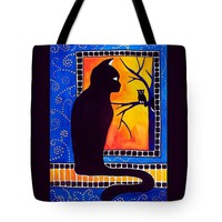 Insomnia - Cat And Owl Art By Dora Hathazi Mendes Tote Bag