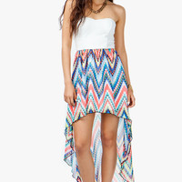 A'GACI Abstract Print Open Back Hi Lo Dress - DRESSES
