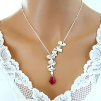 Orchid Red Ruby Necklace Sterling Silver Wedding Bridesmaid Gift - Vivian Feiler Designs | Wedding