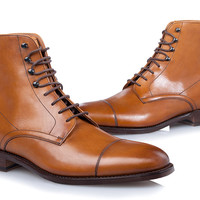 SHOEPASSION.com – Goodyear-welted Derby Boot in cognac