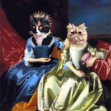 TWO Pet Portrait - Wedding of Arnolfini by Jan van Eyck - Custom Renaissance Pet Dog and Cat Portraits