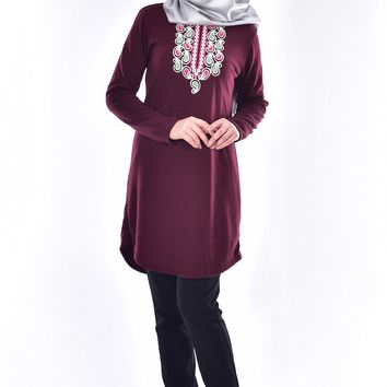 Embroidered Tunic Maroon