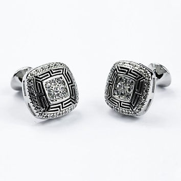 Vintage 1.3cm Men's Silver Czech Diamond Cufflink(1 Pair)
