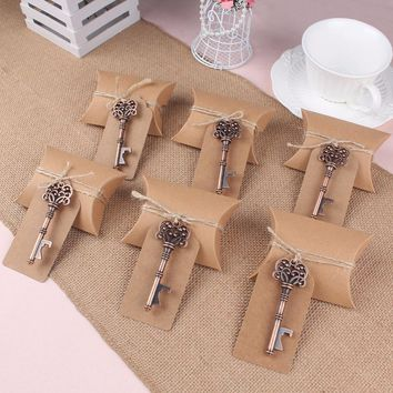 10pcs Wedding Souvenirs Skeleton Bottle Opener+Tags+Box Wedding Favors and Gifts for Guest Party Favors Festive Party Supplies