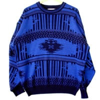 Vintage 80s Cobalt Blue Aztec Tribal Cosby Ugly Sweater - The Ugly Sweater Shop