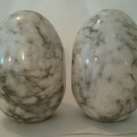 Mid Century Modern White Gray Marble Egg Orb Bookends Pair Made In Italy