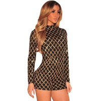 SEBOWEL Bodysuit Womens Playsuits Diamond Bodycon Sequins Jumpsuit  Long Sleeves Club Party Overalls Romper Short Mono Mujer