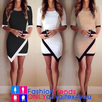 NEW Fashion Women Mini Dress Knitted Three-Quarter Ladies Club Clubbing Party Cocktail Dress Summer Design Fancy Popular Half Sleeve Wrap Dress = 1945747268