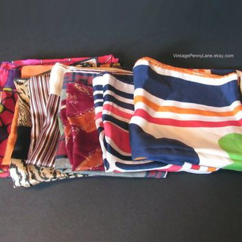 Vintage Scarf Lot, Head Scarf, Neck Scarf, Hair Tie Scarf, Rayon Scarves