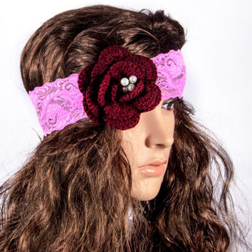 LACE HEADBAND, flower lace headband,  pink wide lace headband by LoveKnittings