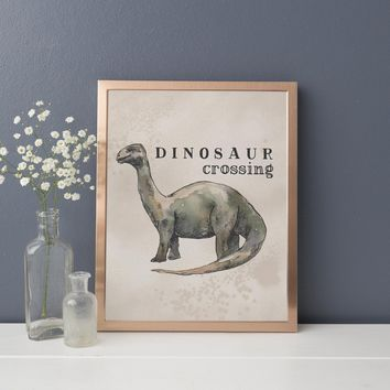 Dinosaur Crossing Party Sign Art Print