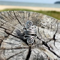 Long Swirl Boho Ring - Open Swirl Ring - Silver Boho Ring - cheap boho jewelry