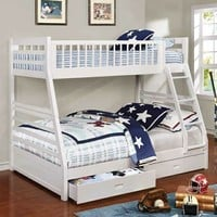 Ashton collection white finish wood twin over full bunk bed with storage drawers
