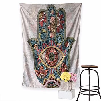 Hamsa Hand Tapestry Floral Wall Hanging Home Decor