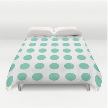 Duvet Cover Lucite Green Pantone 2015 Polka Dots Mint Green Full Queen King Bed Spread